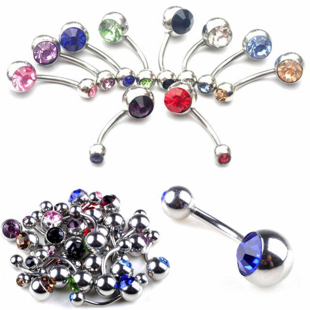 Surgical Stainless Steel Belly Navel Button Dangle Bar Ring Body Piercing Silver
