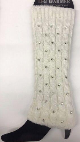 Women Ladies Winter diamanti Leg Warmers Cable Knit Knitted Crochet Long Socks