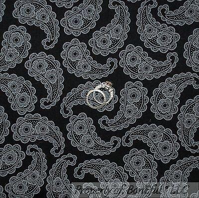 BonEful Fabric FQ Cotton Quilt Black Gray B&W Paisley Lace Flower Shabby Chic NR