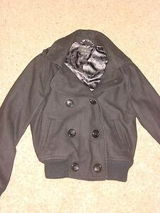 Forever 21 Zara Jacket Woman Black Wool Coat Sz M Ebay