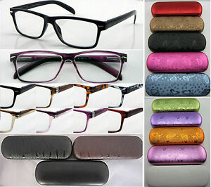L141-Superb-Quality-Reading-Glasses-Case-Spring-Hinges-Large-Modern-Style-Frame
