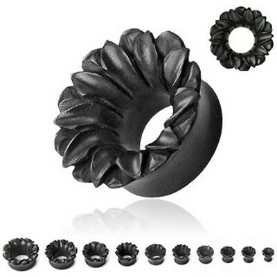Pair Organic Black Areng Wood Lotus Flower Ear Plugs Tunnels Earlets Gauges