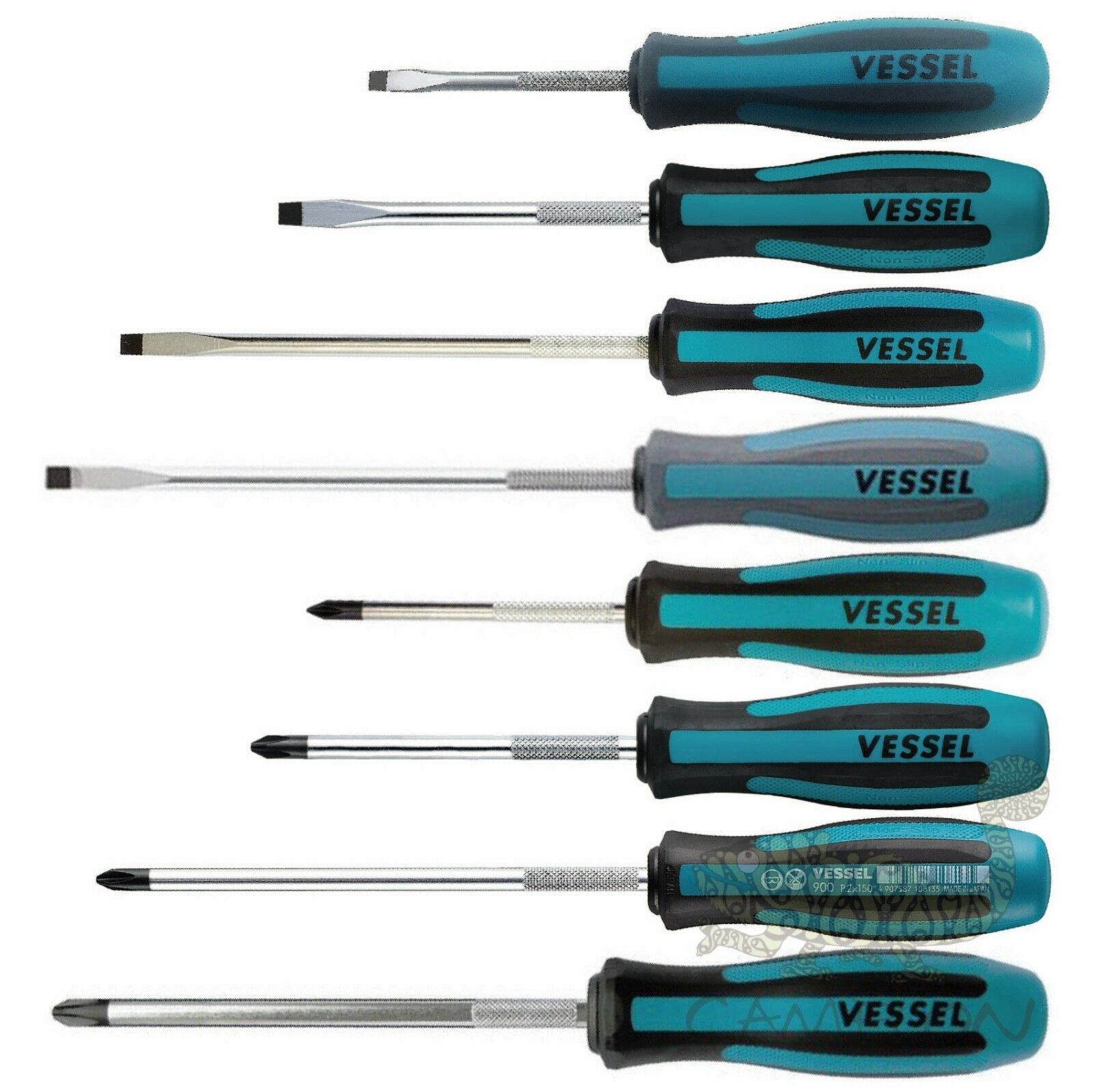 VESSEL Megadora Screwdriver -5.5,6,8,+1,2,3 75mm-150mm No.900 made in Japan