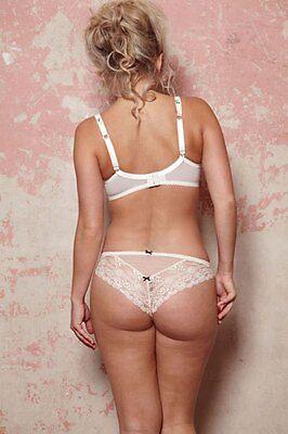 New Tutti Rouge Rosa Satin & Lace Brazilian Thong Ivory  Sizes S, M, L