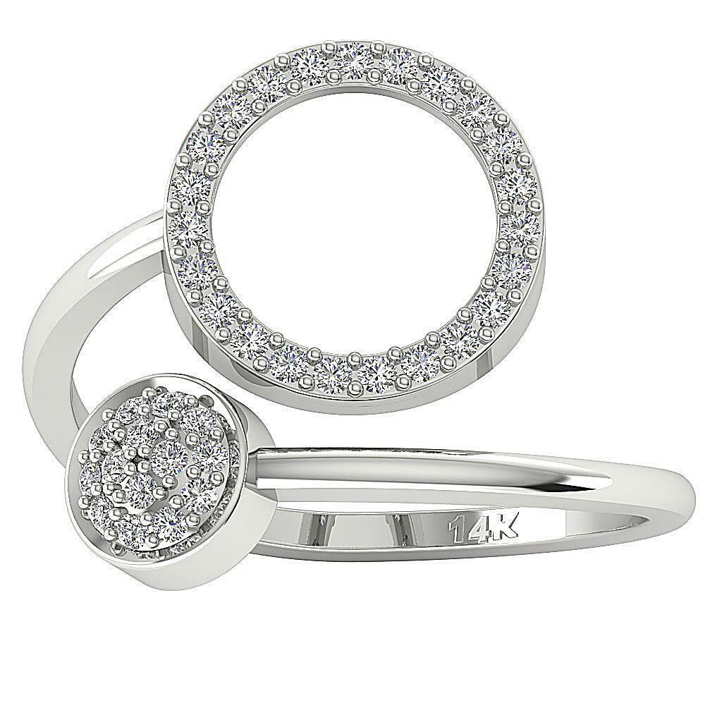Fashion Circle Ring SI1G 0.30Ct Natural Diamond 14K White gold 16.40mm Appraisal
