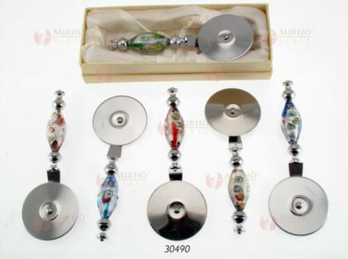N.1 FAVOURS Pizza cutter steel and MURANO glass with MURRINE and box 30490