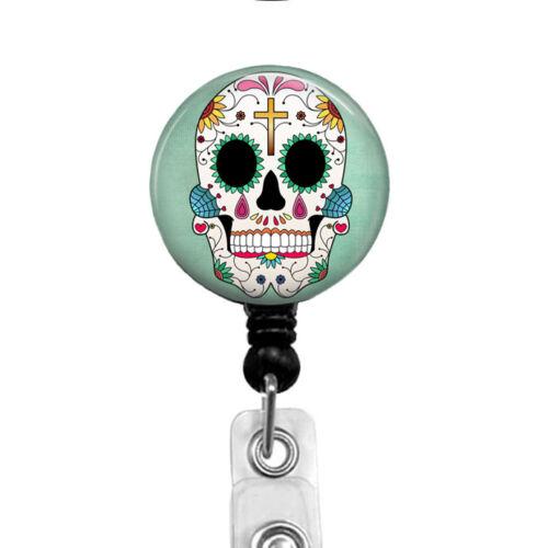 Dia de los Muertos Day of the Dead Badge Holder Green Sugar Skull Name Tag Reel