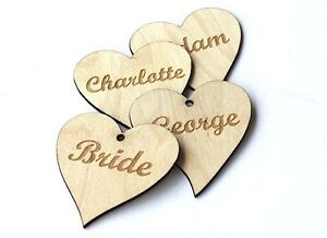 Wood heart name tags! Engraved name place setting/personalised/table ...