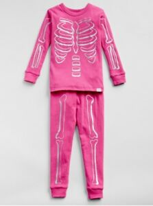 d7b5bf68c960 BABY GAP Pajamas Set Skeleton GLOW IN DARK Pink Girl PJ Sleep Size ...