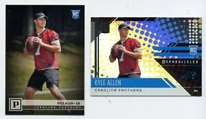 2-2018-KYLE-ALLEN-Rookie-Card-RC-LOT-Carolina-Panthers-Panini-379-Unparalleled