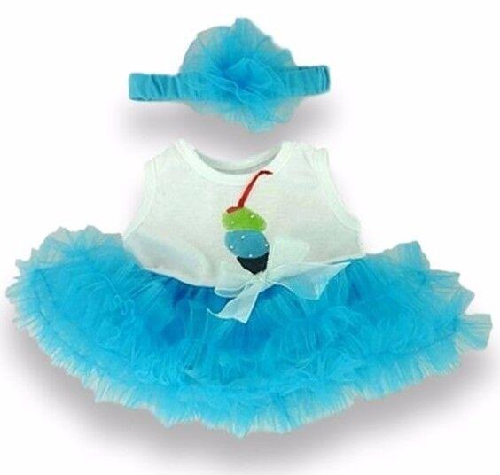 Teddy Bear Clothes fit Build a Bear Teddies Ice Cream Design Tutu Dress and Bow