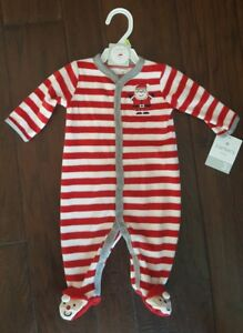 0601e45bb76d NWT CARTERS RED SANTA FLEECE CHRISTMAS FOOTED PAJAMAS SIZE 3 MONTHS ...