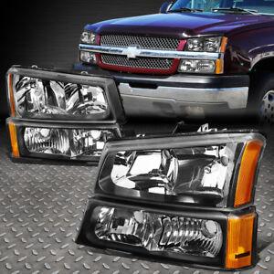 Pour-2003-2006-Chevrolet-Silverado-Boitier-Noir-Ambre-Phares-Lampe-Ensemble