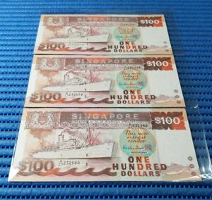 3X Singapore Ship Series $100 Note A/27 232078-232080 Run Dollar Currency