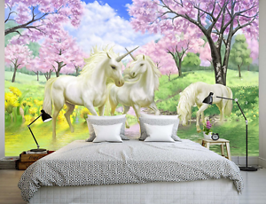 3D White Horse Pink Flower 9087 Wall Paper Wall Print Decal Wall AJ WALLPAPER CA