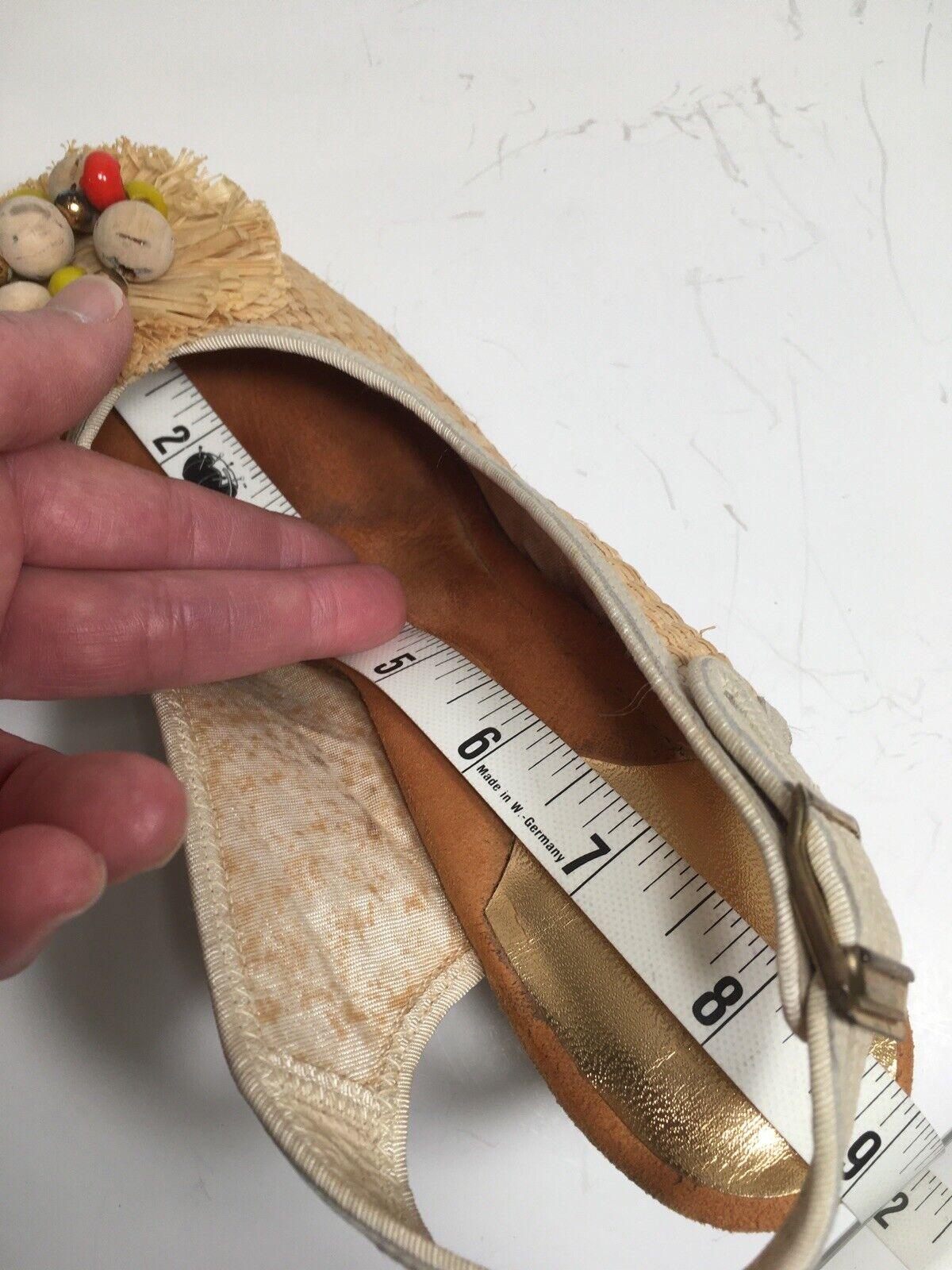 Vintage 40s Shoes Platform CORK Wedge Sandals Str… - image 11