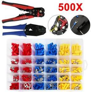 500 Kabelschuhe Crimpzange Flachsteckhülsen Set Crimpwerkzeug Kabelschuhzange