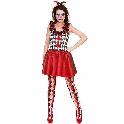Ladies DELUXE HARLEQUIN JESTER Halloween Horror Clown Fancy Dress Costume UK6-20