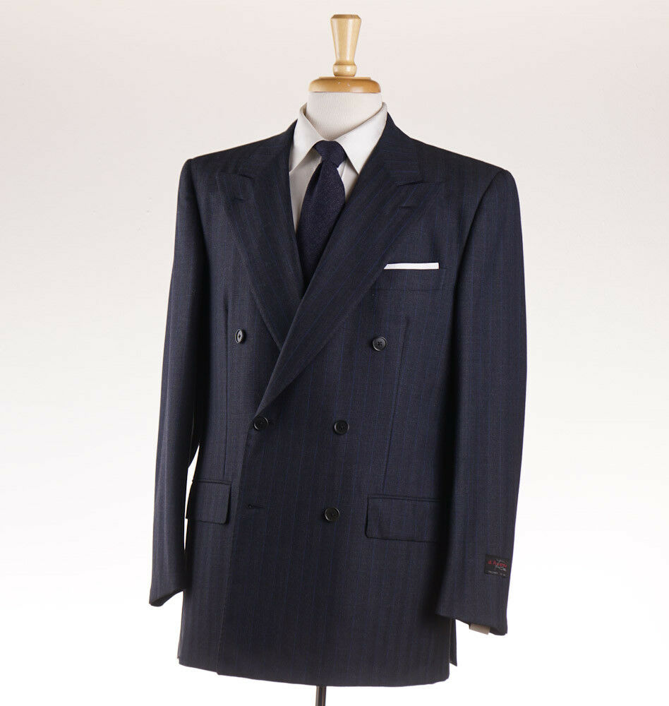 NWT 3995 D'AVENZA Dark Blau Stripe Double-Breasted Wool Suit 42 R (Eu 52)