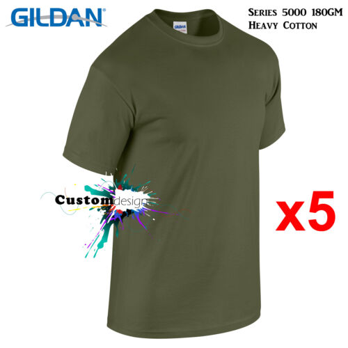 5 Packs Gildan Military Green T-SHIRT Basic Tee Men Heavy Cotton