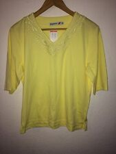 Poppy Cotton/Polyester Mix T Shirt Top Size 14 Yellow <R9175