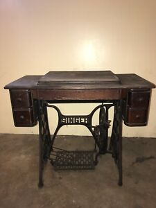 Superbe Details About Antique Singer 5 Drawer Sewing Machine Cabinet With Treadle