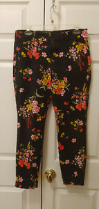Women Old Navy The Pixie Black Floral Ankle Pants Size 10