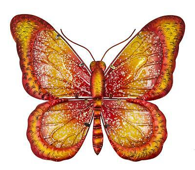 LARGE METAL COLOURFUL BUTTERFLY GARDEN DECORATION WALL ART 31cm x 35cm 270822