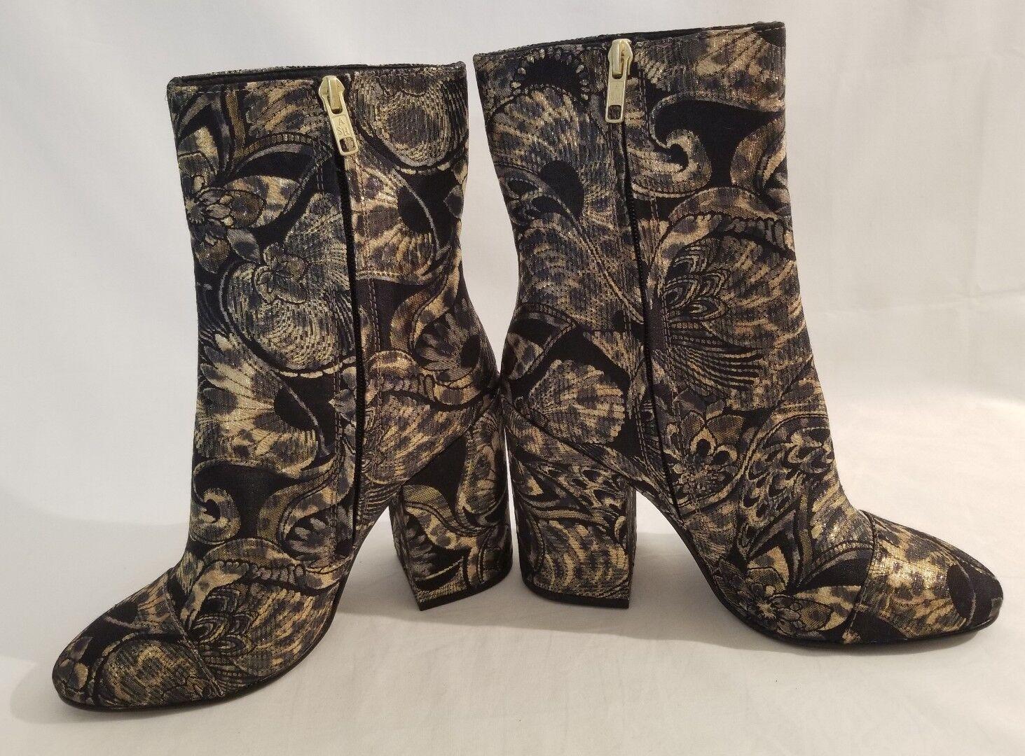 Ash Ash Ash Flora botas al tobillo Botines Tacón en relieve de oro negro mujer zapatos talla 39 Nuevo a48d67