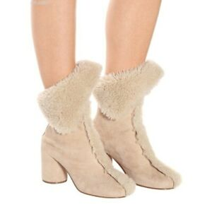 52b1003bc704a MM6 MAISON MARGIELA Shearling Tabi Ankle Boots Beige sz US 5.5-6 /IT ...
