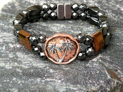 Magnetic Hematite Men/'s Woman/'s Bracelet Anklet 2 row w Palm Tree Copper Slider