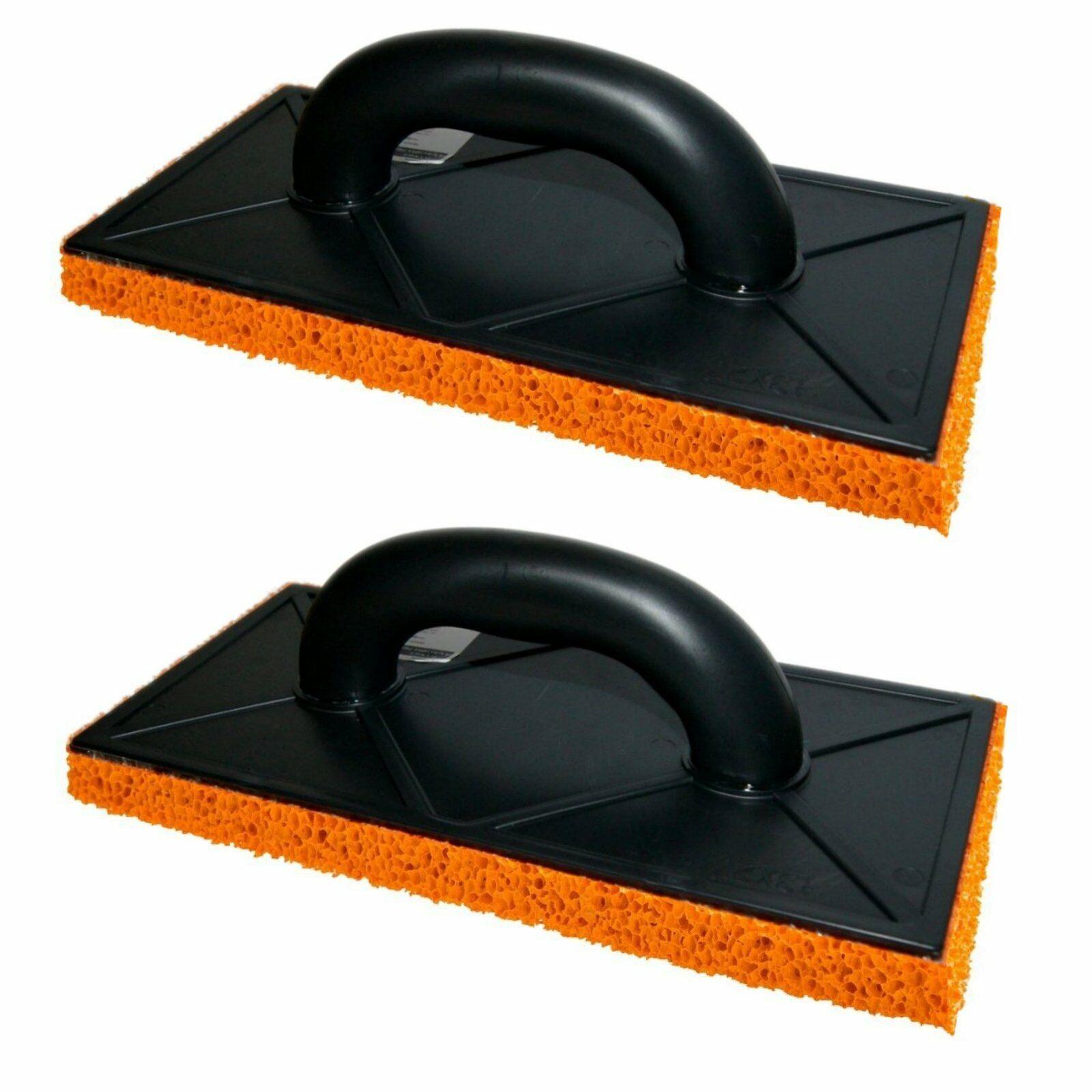2 x Orange Sponge Float Rubber 280mm Plastering Rendering Medium Rough Coarse