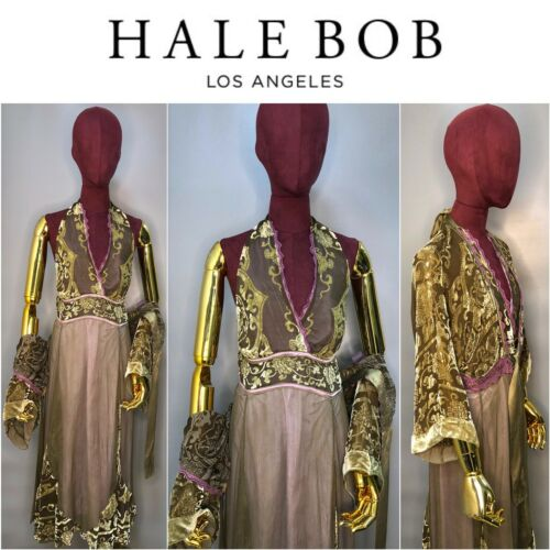 Hale Bob Velvet Silk Green Long Waist Dress and Ca