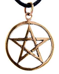 Pentagram pendant Bronze White Magic Protection Witch Pentacle :3