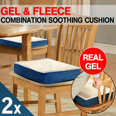 2 X Gel Cushion Fleece Cover Office Chair Seat Car Stress Relief