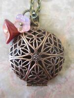 Vintage Copper Handmade Photo Locket Chain Necklace & Glass Flower Czech Beads