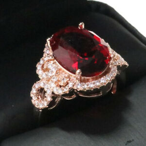 4-Ct-Oval-Red-Ruby-Halo-Ring-Women-Wedding-Jewelry-Gift-14K-Rose-Gold-Plated
