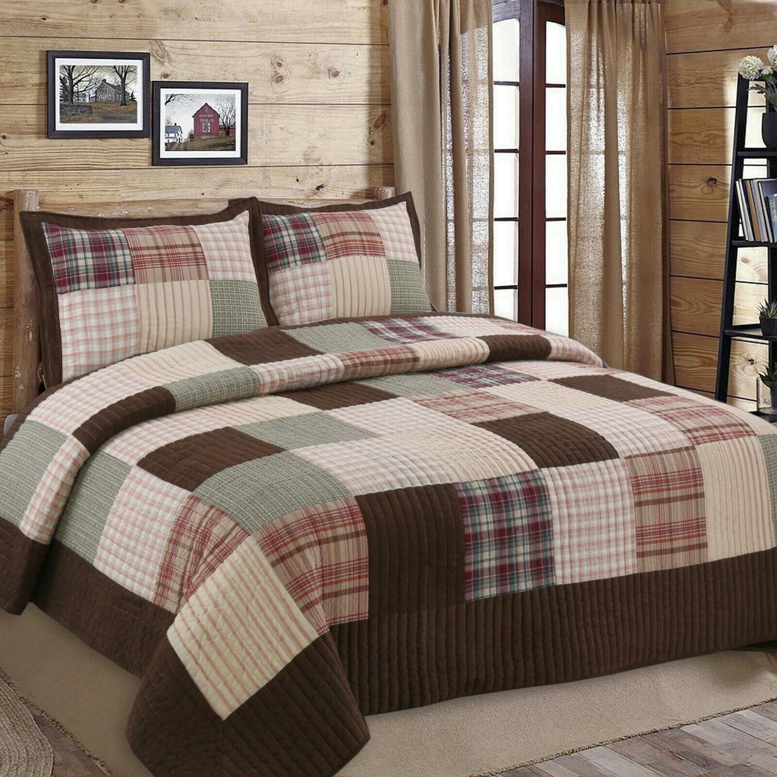 Abreeze 2pc 100/% Cotton Train Plaid Quilt Comforter Childrens Bedspread Set Twin size