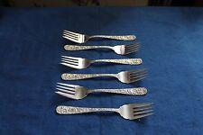 """6 Vintage S. Kirk & Son Sterling Silver Salad Fork Repousse 6 1/4"""" No Monogram"""