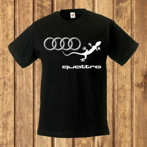 audi quattro logo 1 BLACK t-shirt kids clothes for child toddler boy UNISEX men