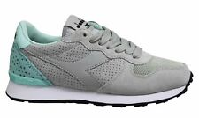 Diadora Camaro Fancy Grey Leather Lace Up Womens Running Trainers C7892