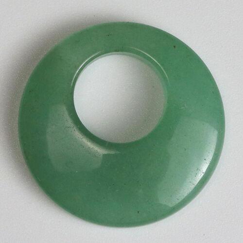 Pierres naturelles cristal RONDE DONUT Cercle Pendentif pour colliers boucles d/'oreilles Nouveau