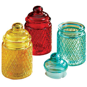 Charmant Image Is Loading Small Colored Glass Jars Set Of 3 Red