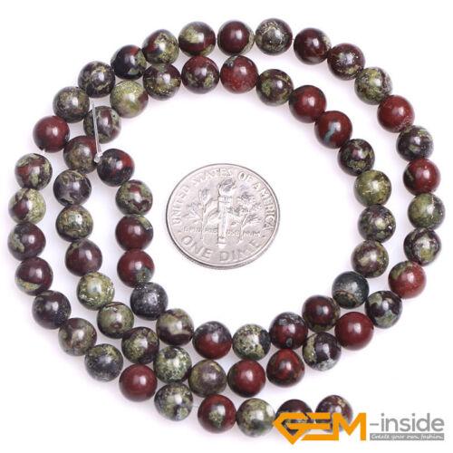 "Natural Green Australia Blood Jade Gemstone Round Beads For Jewelry Making 15/""YB"