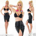 Sexy Leather Look Asymmetric Skirt. UK 8.10.12.