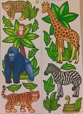 JUNGLE/SAFARI/ZOO ANIMALS wall stickers 15 decals decor gorilla leopard tiger +