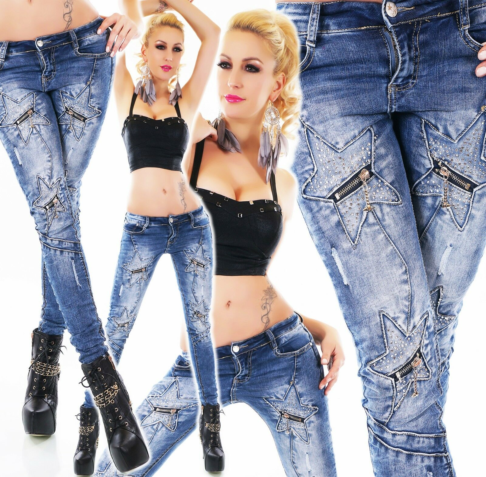 Donna Jeans Anca Pantaloni Jeans A Sigaretta stelle con con con zip strass blu Slavati ORIGINALE eb0b22