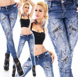 Damen-Hueft-Jeans-Hose-Roehrenjeans-Sterne-mit-Zip-Strass-blue-washed-ORIGINAL