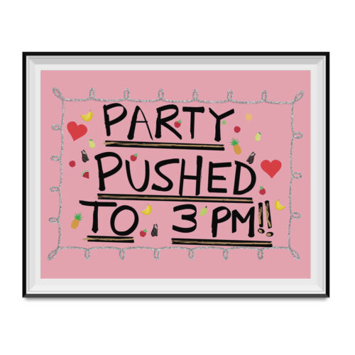 Party Pushed To 3 PM Poster The Office Dwight Schrute Dunder Mifflin Birthday