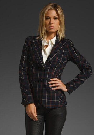 Gwen Stefani L.A.M.B Plaid Window Pane Blazer size US 8 NEW WOW